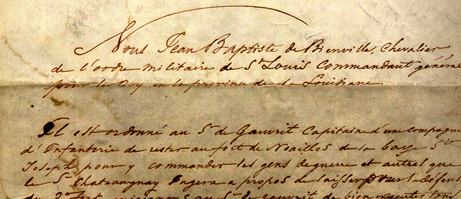 The Louisiana State Archives houses historical records including this handwritten document signed by Jean Baptiste Le Moyne, Sieur de Bienville.