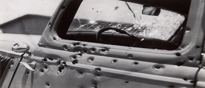 The Louisiana State Archives houses historical photographs such as this one of Bonnie and Clyde's bullet-riddled car. John Gasquet, photographer