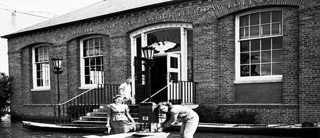 The former Ferriday Post Office, now the Delta Music Museum, is pictured here during the Flood of 1945. John Gasquet, photographer