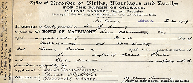 The Louisiana State Archives houses Orleans Parish Marriage Records more than 50 years old. This record belonged to jazz great Louis Armstrong.