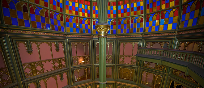 Louisiana's Old State Capitol features a stained glass dome supported by a single ornate pier. Herb Sumrall Jr., photographer